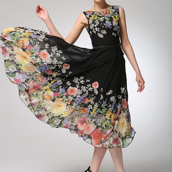 Black chiffon dress prom dress women flower dress