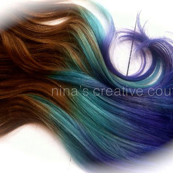 Brown Ombre Hair Extensions, Free People Hair, Periwinkle Purple Ombre Hair, (7) Pieces, 18""