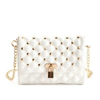 QUILTED STUD CROSS-BODY BAG