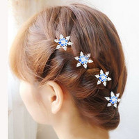 3pcs Hot Female Lady Girls Bride Princess Snowflake Ceystal Rhinestone Hair Clips Hairgrips Accessories For Woman