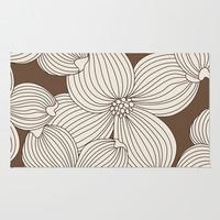 Dogwood Big Linear: Brown Cream Area & Throw Rug by Eileen Paulino