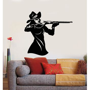 Vinyl Wall Decal Wild West Sexy Girl With Gun Bandit Texas Stickers Mural (g295)