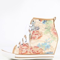 Floral Lace Wedge Sneakers