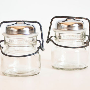 Vintage Mason Jar Salt and Pepper Shakers, Wire Side Bale Canning Jar Glass Shakers