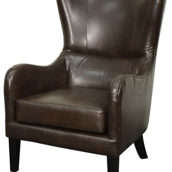 Glendale Bonded Leather Chair Pecan Legs, Vintage Coffee