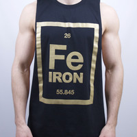 Iron Element Cut Off T Shirt - Black Gold