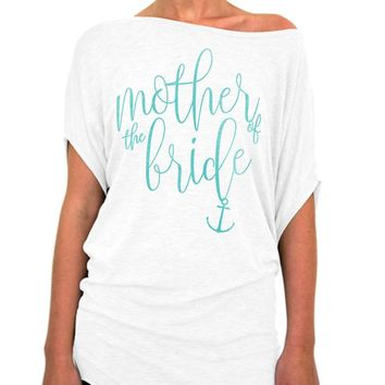 Mother of the Bride Shirt Nautical Script Collection Slouchy Tee - Off The Shoulder Slouchy T-shirt