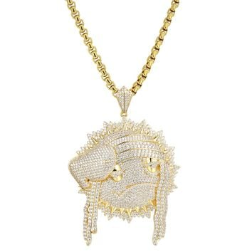 Iced Out Blood Money Chief Keef Dreads pendant Necklace