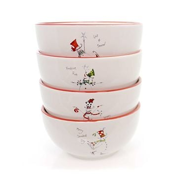 Tabletop FESTIVE SNOWMAN CEREAL BOWLS Stoneware Christmas Stoneware 64742