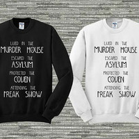 American Horror Story Four Seasons Sweater Black and White Sweatshirt Crewneck Men or Women Unisex