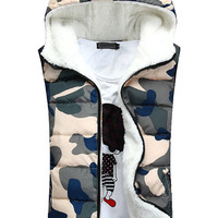 Camo Fleece Padded Hooded Vest
