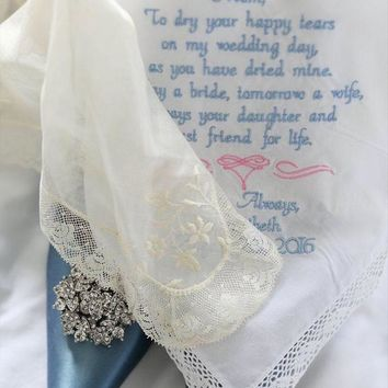 Personalized Embroidered - Wedding Gift - Hankie For Mother of the Bride Handkerchief  By Canyon Embroidery on ETSY