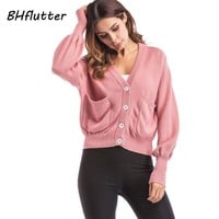 Winter Cardigan Women Long Sleeve V Neck Casual Sweater Buttons Computer Knitted Cardigans Crochet Pull