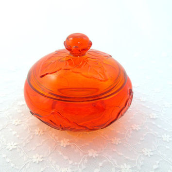 Vintage Candy Dish Lidded Orange Heavy Glass Leaf Design Autumn Fall Holloween Gift Collectible Item 1607