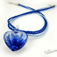 Blue glass heart necklace blue choker lampwork necklace glass jewelry statement necklace glass pendant murano glass bead necklace birthstone