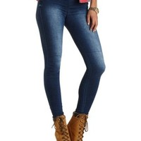 Pull-On Medium Wash Skinny Jeans by Charlotte Russe - Med Wash Denim