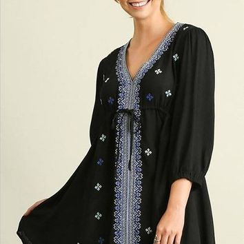 Dream In Black Embroidered Long Sleeve Swing Dress