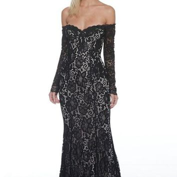Sofia Black Lace Off Shoulder Prom Formal Event Dress Gown