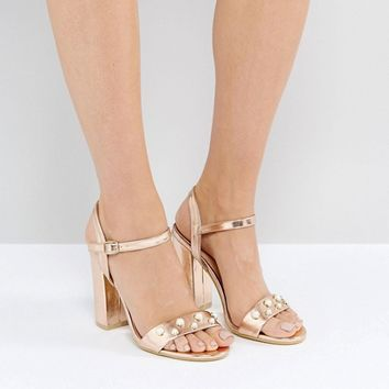 Public Desire Oklahoma Rose Gold Pearl Detail Heeled Sandals at asos.com