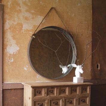 Large Round Mirror with Metal Frame and Rope Accent