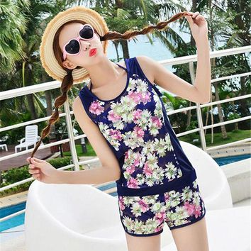 DCCK7N3 2017 Push Up Tankini Swimsuits Women Lady Swimsuit Sport Girls Swimming Halter Tankinis Set Boxer Shorts Swimwear Beach Wear