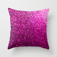 Pink Sparkle Glitter Throw Pillow by xjen94