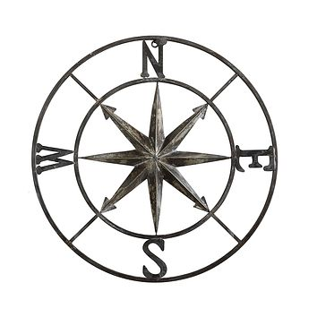 Distressed Metal Rose Compass Wall Decor -- 30-in