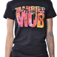 Married To The Mob Logo Floral Fill Tee Shirt Black at ApparelZoo.com
