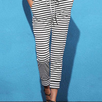 Black and White Mid Waist Striped Drawstring Pants