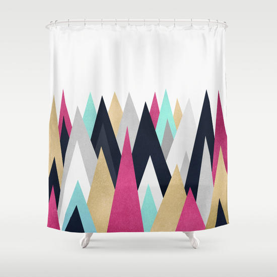 Gold Pink And Navy Peaks Shower Curtain From Society6 Home