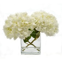 Birch Lane™ Faux White Hydrangea in Glass Vase | Wayfair