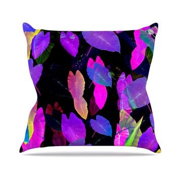 "Fernanda Sternieri ""Fluo Jungle"" Purple Black Outdoor Throw Pillow"