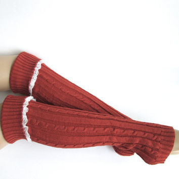 Knitted Leg Warmers in Rust Red - Boot Cuffs- Knee Socks-Lace Leg Warmers-Boot Sweaters.