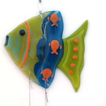 Fused Glass green  blue fish  Windchime, Suncatcher, Summer Collection.