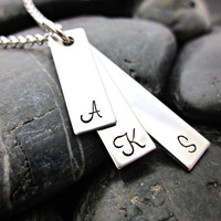 Mother's Necklace - Stainless Steel Stacked Bars with Initials