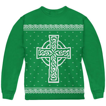 Celtic Cross Irish Ugly Christmas Sweater Youth Sweatshirt