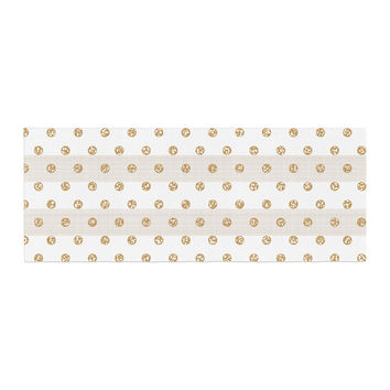"Pellerina Design ""Linen Polka Stripes"" Gold Dots Bed Runner"