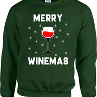 Ugly Christmas Sweater Funny Christmas Gift Ideas For Women Wine Lover Merry Xmas Outfit Holiday Wine Clothing Merry Winemas Hoodie - SA707