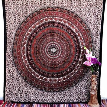 Peacock Elephant Indian Tapestry Mandala Bedding Hippie Bohemian Wall Decor Dorm Hanging