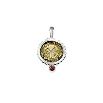 October NYC Authentic Subway Token Pink Tourmaline Sterling Silver Charm Necklace