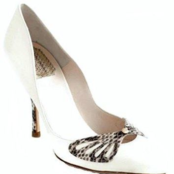 Dior Christian Butterfly Off White Leather Pumps Size 39 US 9