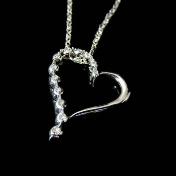 Floating Diamond Heart Necklace 10k White Gold .24 ctw