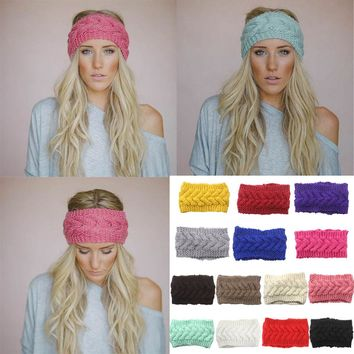 56eaab161e3dc9 Women Crochet Headband Knit Flower Hairband Ear Warmer Winter Head Wrap  Fashion