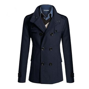 SYB 2016 NEW Slim Fit Long Coat Warm Double Breasted Peacoat Coat Jacket Navy Blue