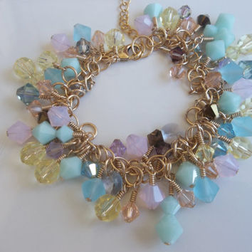 Custom Made-To-Order Swarovski Crystal Pastels Luxury Bracelet in 14k Gold-Fill, Gold Plated Brass, Sterling Silver or Silver Plated Brass