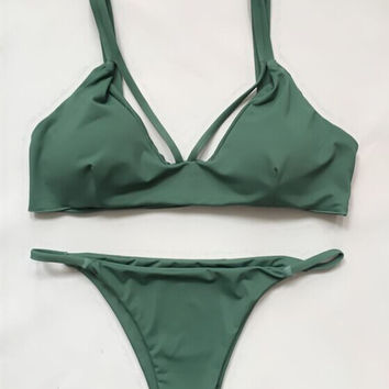 2017 Army Green Sexy Strappy Bikini Set Retro Swimsuit Swimwear [10149878095]