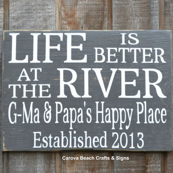 Life Is Better - River House Decor - River Personalized Sign Family Name Sign Established River Art Custom River Sign Reclaimed Wood Signage