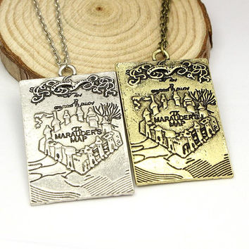 The Maraur 's Maraurs Map Hogwarts Art Glass Pendant Cool Necklace Fans Movie Manufacturers ing
