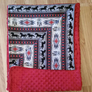 READY TO SHIP minky blanket, throw blanket, toddler blanket, red minky, tucson horse stripe red and gray, south western