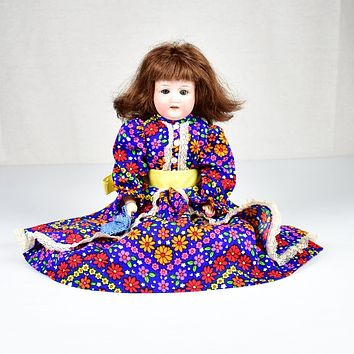 """Antique / Vintage Leather Porcelain Bisque Doll 15"""" Sleep Eyes Teeth - Auction"""